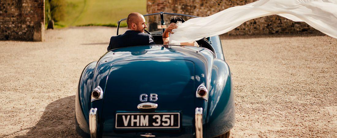 wedding car departs